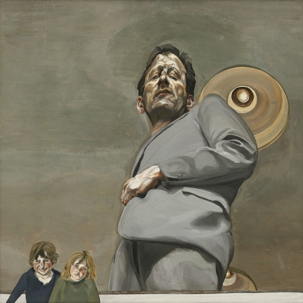 """Lucian Freud, """"Reflection with Two Children (Self‐Portrait),"""" 1965, Oil on canvas. (Courtesy, Museum of Fine Arts, Boston)"""