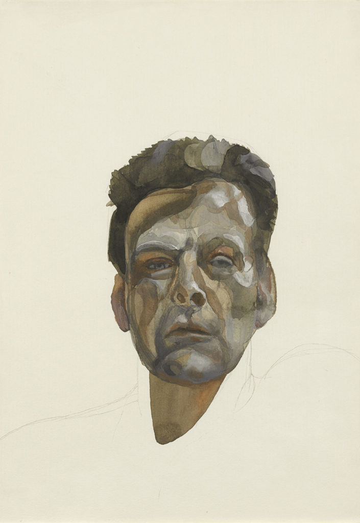 "Lucian Freud, ""Self‐Portrait,"" 1974, Gouache and pencil on paper. (Courtesy, Museum of Fine Arts, Boston)"