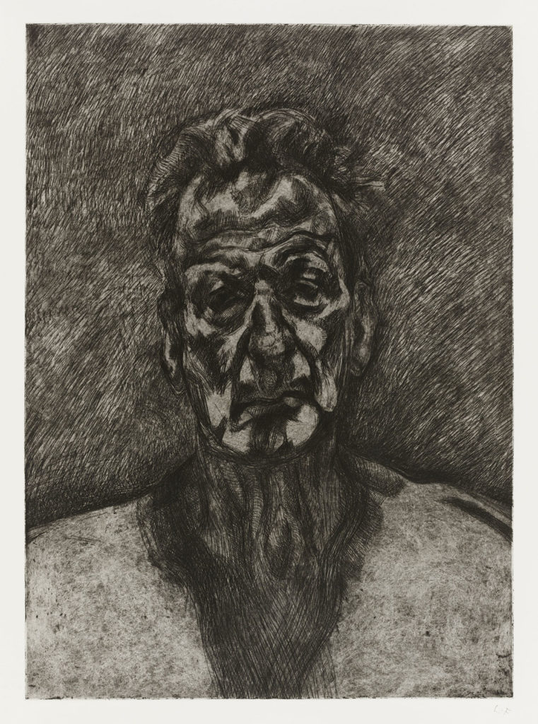"""Lucian Freud, """"Self‐Portrait, Reflection,"""" 1996, Etching print, ink on paper. (Courtesy, Museum of Fine Arts, Boston)"""