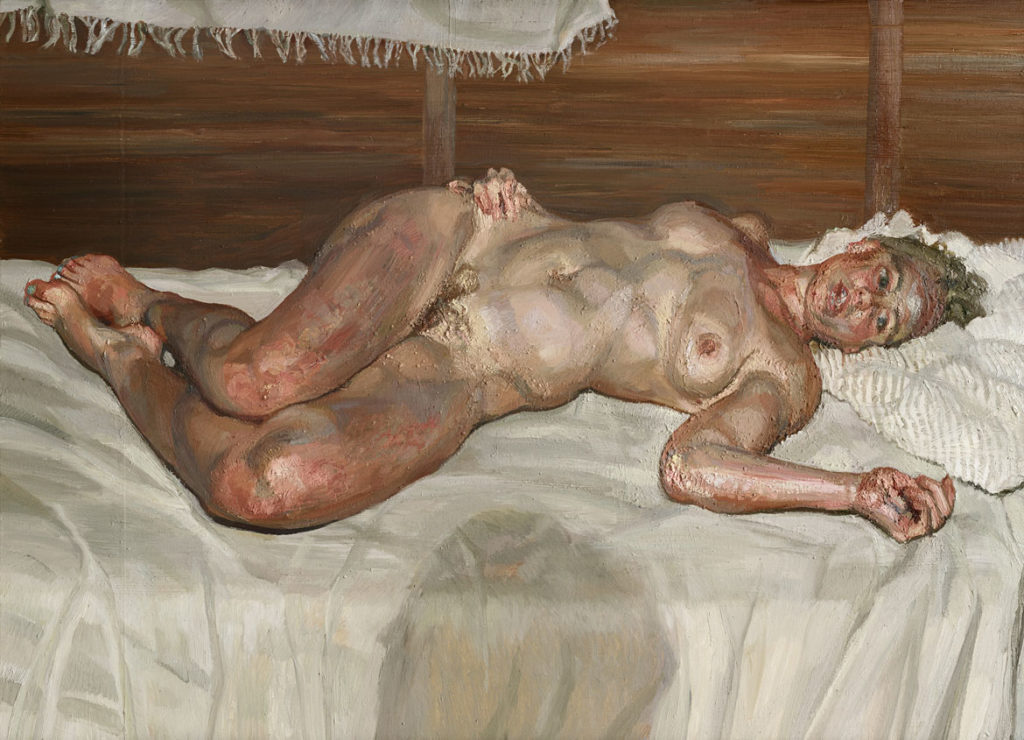 """Lucian Freud, """"Flora with Blue Toenails,"""" 2000-2001, Oil on canvas. (Courtesy, Museum of Fine Arts, Boston)"""