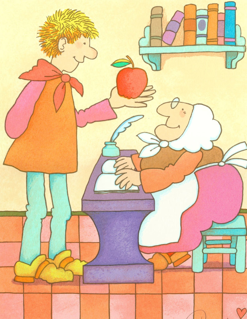 "Tomie DePaola, ""An Apple for Strega Nona."" (Courtesy R. Michelson Galleries, Northampton, Mass.)"