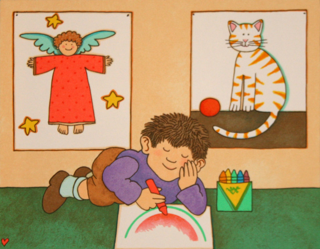 "Tomie DePaola, ""Artist at Work."" (Courtesy R. Michelson Galleries, Northampton, Mass.)"
