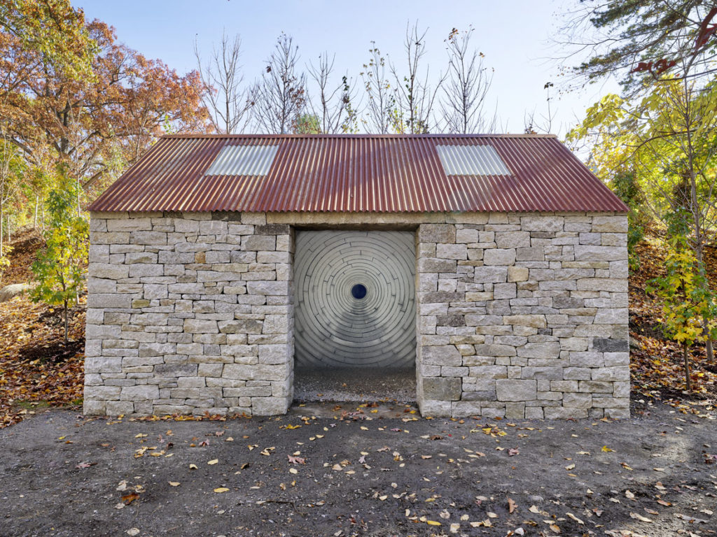 "Andy Goldsworthy, ""Watershed,"" 2019, at deCordova Sculpture Park and Museum, Lincoln, Massachusetts. (©Andy Goldsworthy, Courtesy Galerie Lelong & Co. Photo by Clements Photography and Design, Boston)"