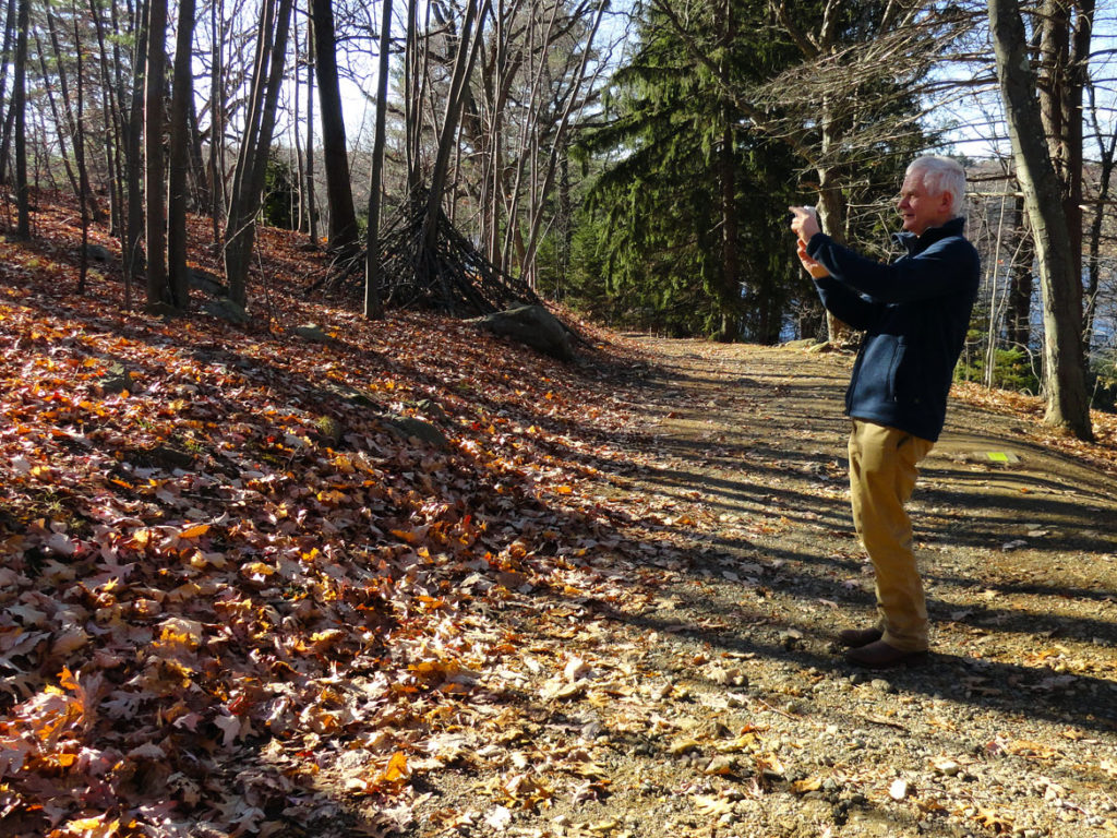 "Andy Goldsworthy visited deCordova Sculpture Park and Museum in November 2013 to plan ""Snow House."" (Courtesy deCordova)"