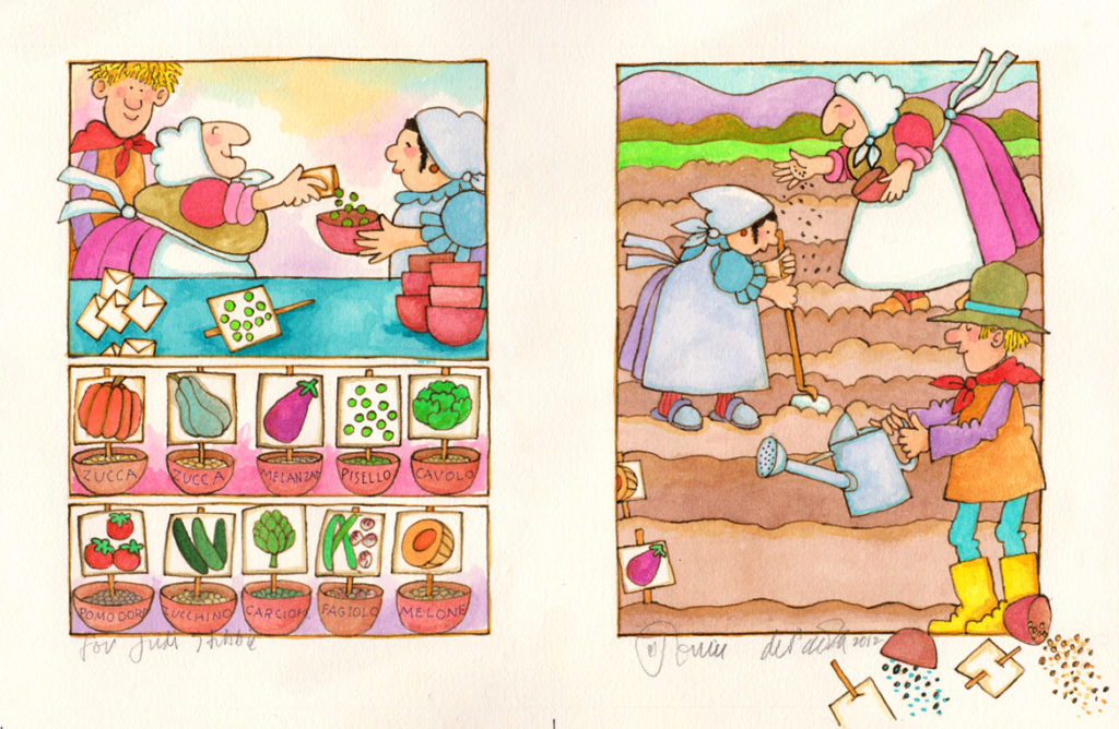"Tomie DePaola, ""Strega Nona's Harvest."" (Courtesy R. Michelson Galleries, Northampton, Mass.)"