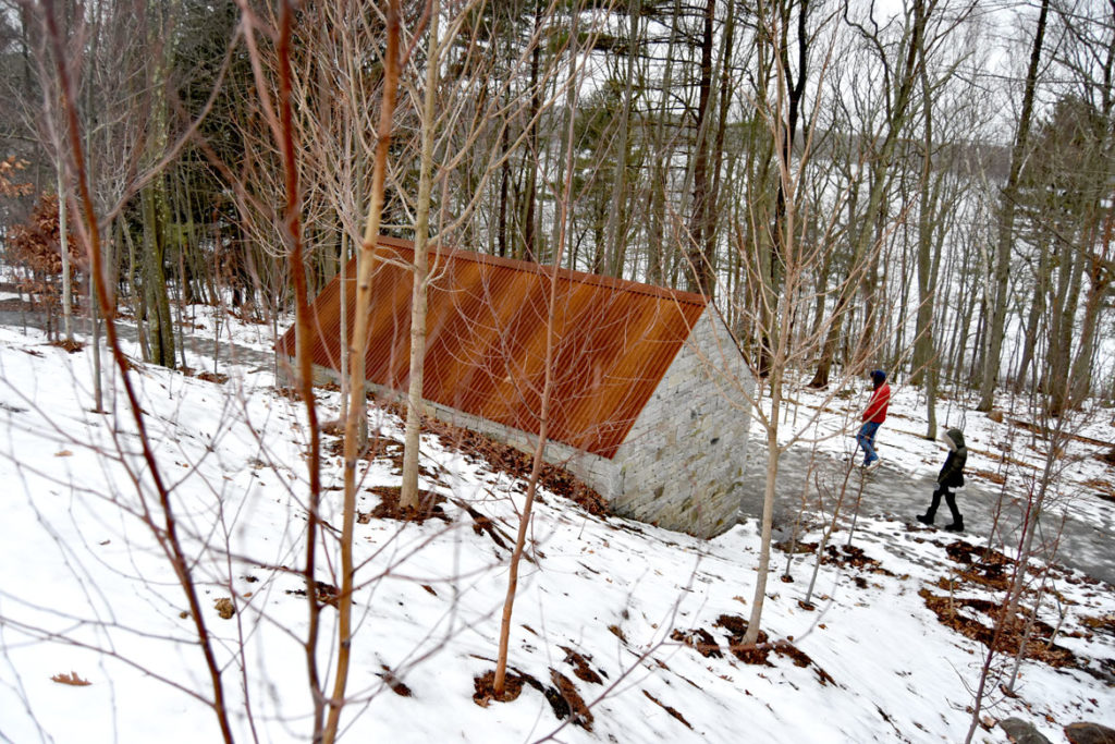 "Andy Goldsworthy, ""Watershed,"" 2019, at deCordova Sculpture Park and Museum, Lincoln, Massachusetts, Jan. 25, 2020. (Greg Cook photo)"