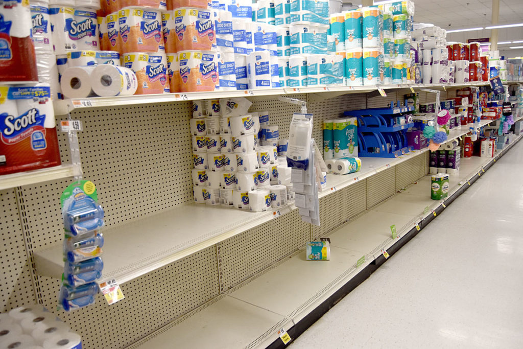 Stop & Shop toilet paper aisle in Saugus, March 10, 2020. (Greg Cook photo)