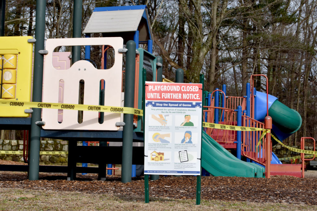 Greenwood Park playground closed in Stoneham, March 20, 2020. (Greg Cook photo)