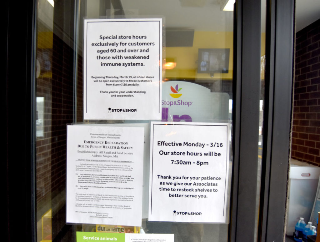 Stop & Shop in Saugus, March 20, 2020. (Greg Cook photo)