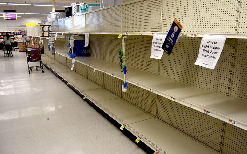 Stop & Shop toilet paper aisle in Saugus, March 20, 2020. (Greg Cook photo)
