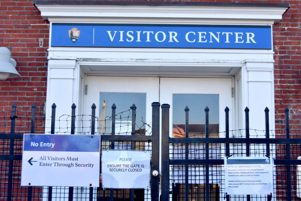 USS Constitution visitor center in Charlestown closed, March 21, 2020. (Greg Cook photo)