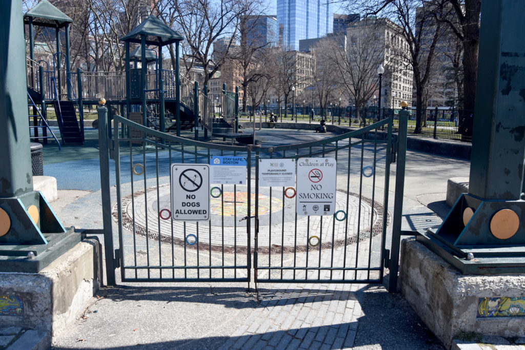 Tadpole Playground on Boston Common closed, March 22, 2020. (Greg Cook photo)