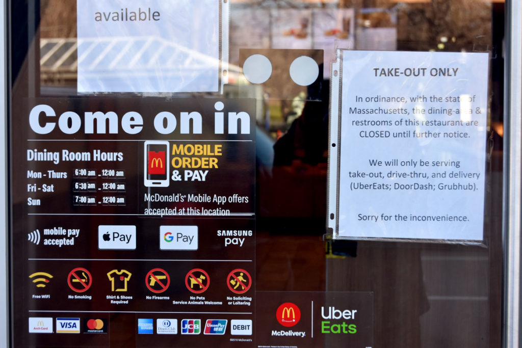 "McDonalds on Tremont Street by Boston Common offering ""take-out only,"" March 22, 2020. (Greg Cook photo)"