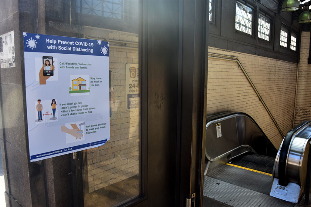 Park Street MBTA station on Boston Common, March 22, 2020. (Greg Cook photo)