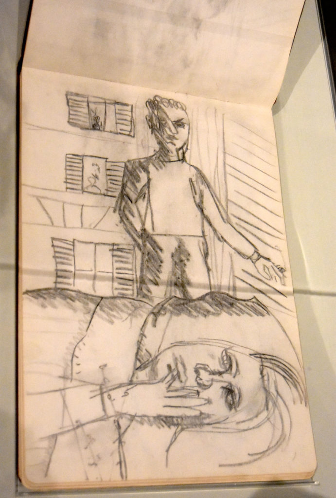 """Lucian Freud, Study for the 1954 painting """"Hotel Bedroom"""" in """"Sketchbook 2 (page 30),"""" undated sketchbook, pencil on paper."""
