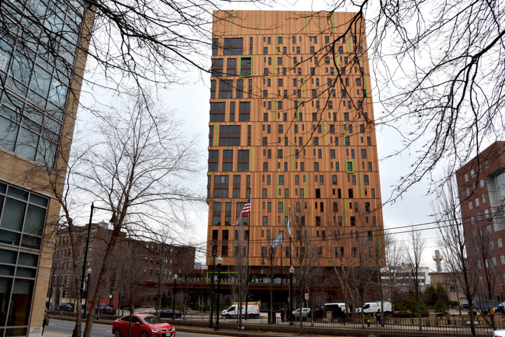 MassArt's 21-story Tree House Residence Hall, designed by the Boston firm ADD Inc., which debuted in 2018 at 578 Huntington Ave., Boston, Feb. 25, 2020. (Greg Cook)
