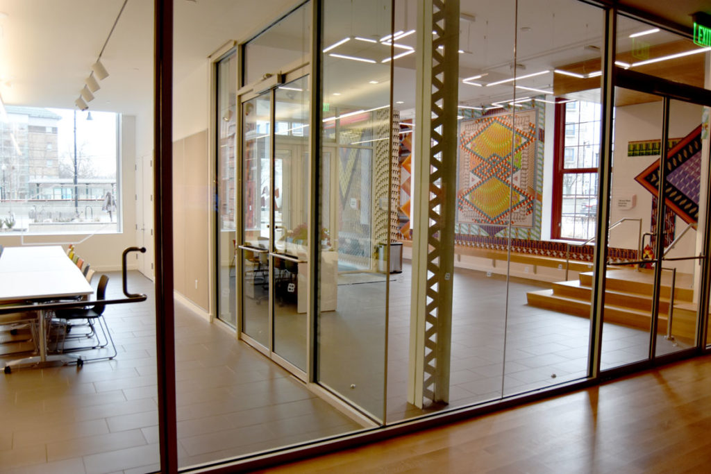 Looking into the MassArt Art Museum's Barkan Family Big Ideas Studio (left) and lobby, Boston, Feb. 25, 2020. (Greg Cook)