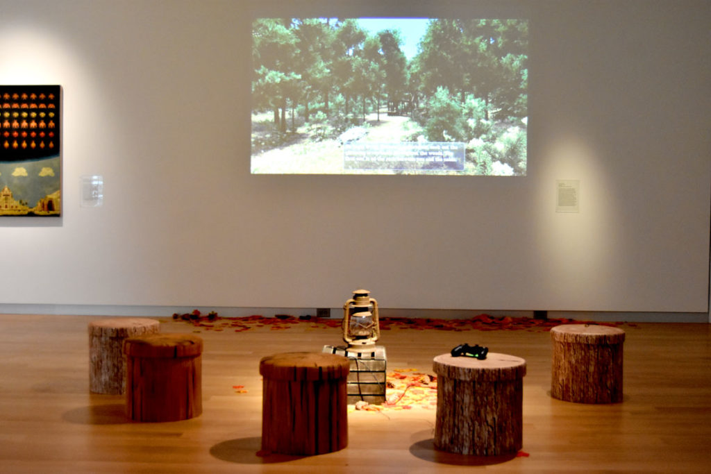 "Tracy Fullerton's ""Walden, A Game"" (2017) in the exhibition ""Game Changers"" at the MassArt Art Museum, Feb. 25, 2020. (Greg Cook)"
