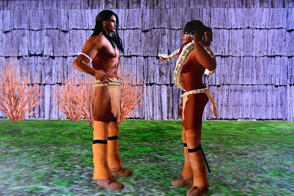 "Skawennati uses the virtual world ""Second Life"" to revisit watershed moments in indigenous history in the exhibition ""Game Changers"" at the MassArt Art Museum."