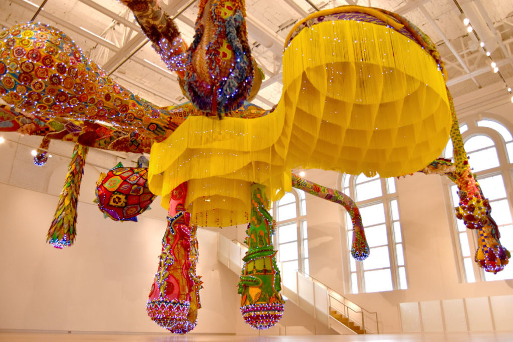 "Joana Vasconcelos's ""Valkyrie Mumbet"" the MassArt Art Museum's second floor Paine Gallery, Feb. 25, 2020. (Greg Cook)"