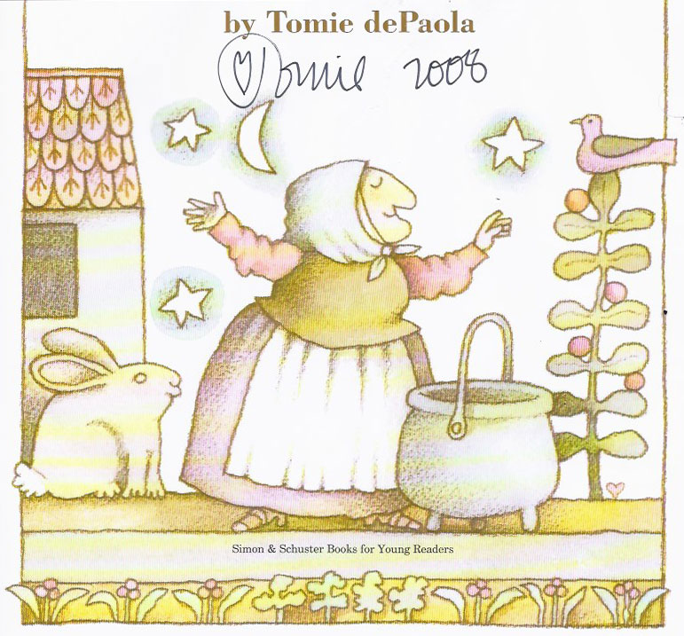 "Tomie DePaola, autographed title page of ""Strega Nona,"" 1975."