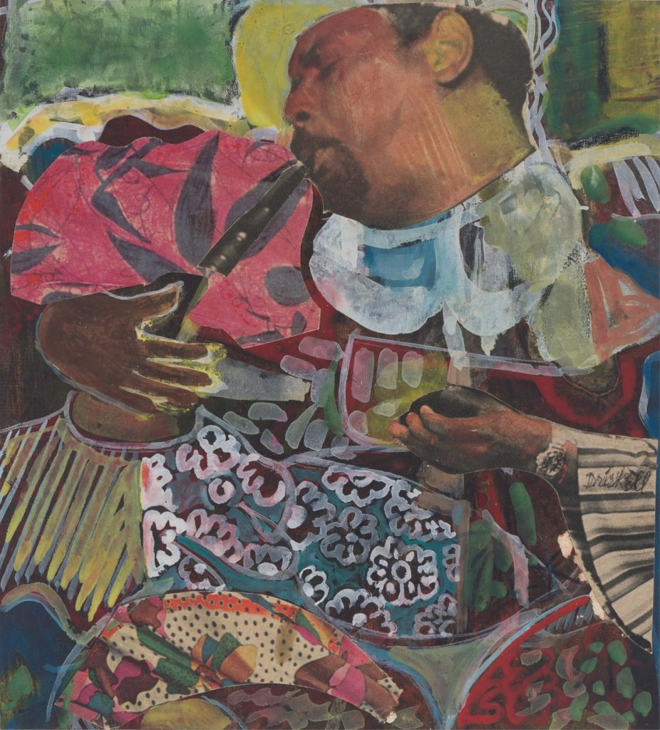 """David Driskell, """"Sweet Music - Homage to Dizzy Gillespie,"""" 1978. Collage and gouache on paper mounted to fiberboard. (Courtesy DC Moore Gallery)"""