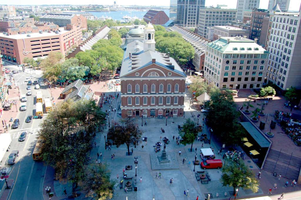 Faneuil Hall and Quincy Market, Boston, Aug. 28, 2015. (Greg Cook photo)