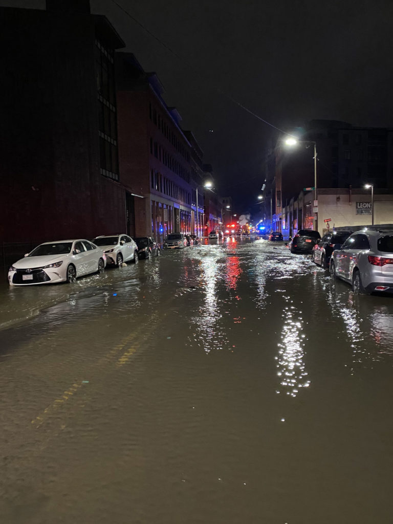 A water main break flooded Harrison Avenue in Boston's South End, April 14, 2020. (Boston Fire Department photo)