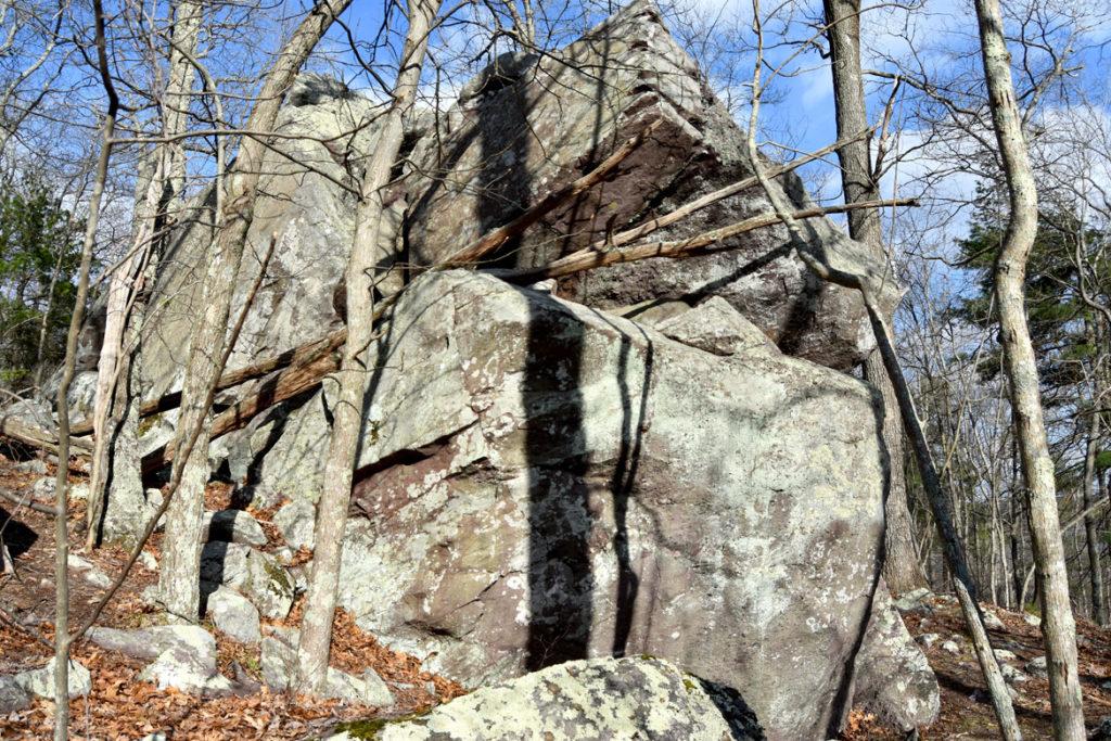 Massive boulders along path to Ponakpog boardwalk at the Blue Hills Reservation in Milton, Massachusetts, April 22, 2020. (Greg Cook photo)