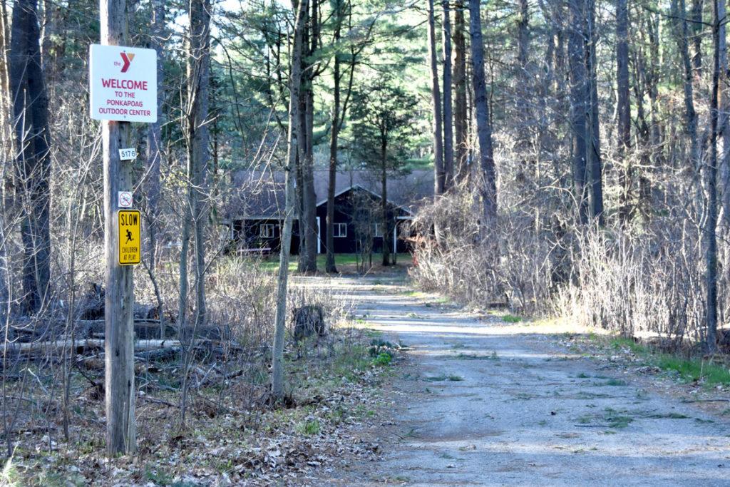 YMCA Ponkapoag Outdoor Center near the Ponakpog boardwalk at the Blue Hills Reservation in Milton, Massachusetts, April 22, 2020. (Greg Cook photo)