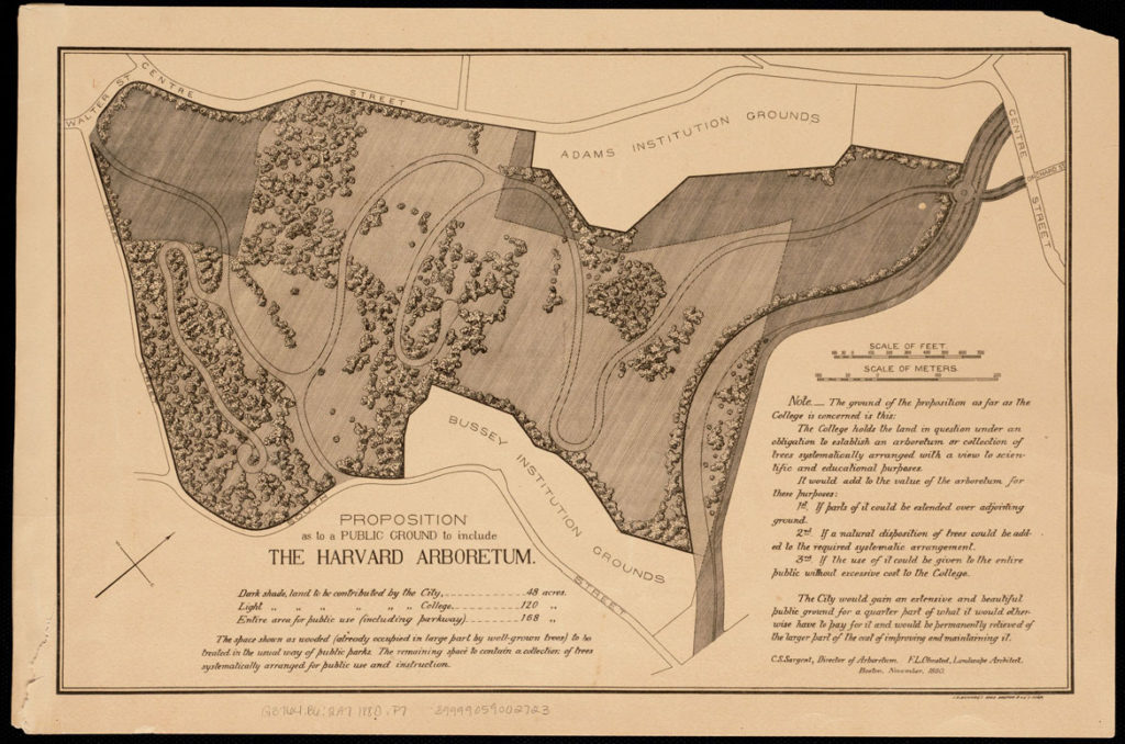 "Frederick Law Olmsted and Charles Sargent, Proposition as to a Public Ground to include the Harvard Arboretum,"" 1880. (Boston Public Library 
