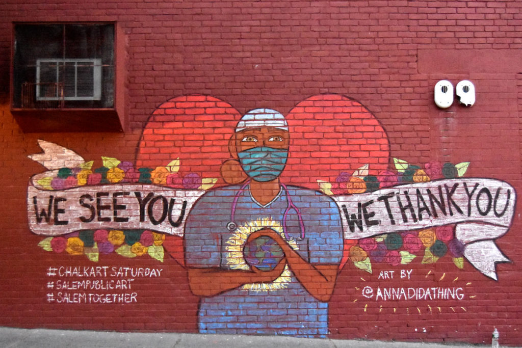 """We See You / We Thank You"" coronavirus mural by Anna Dugan on Salem's Lafayette Street, May 22, 2020. (©Greg Cook photo)"