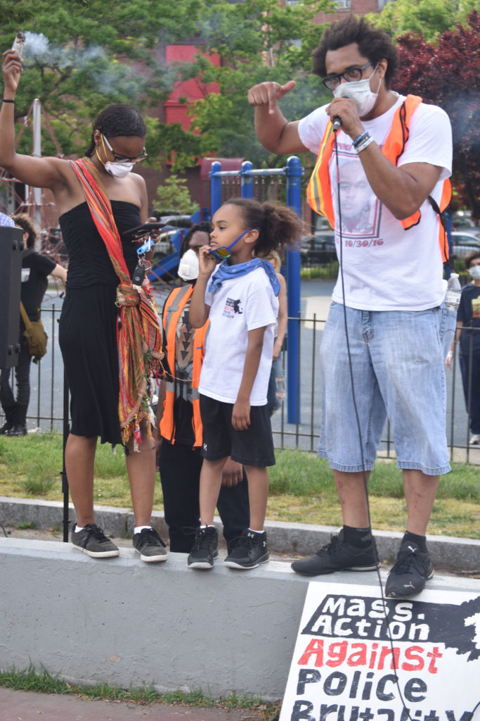 Brock Satter (right) of Mass Action Against Police Brutality spoke to the thousands gathered in Boston's Peters Park to protest the murder of George Floyd by Minneapolis police. May 29, 2020. (Greg Cook photo)