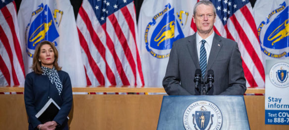 Massachusetts Lt. Gov. Karyn Polito (left) and Gov. Charlie Baker at coronavirus press conference, April 2020.