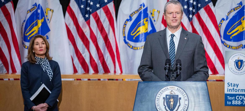 Massachusetts Lt. Gov. Karyn Polito (left) and Gov. Charlie Baker at coronavirus press conference, April 2020.