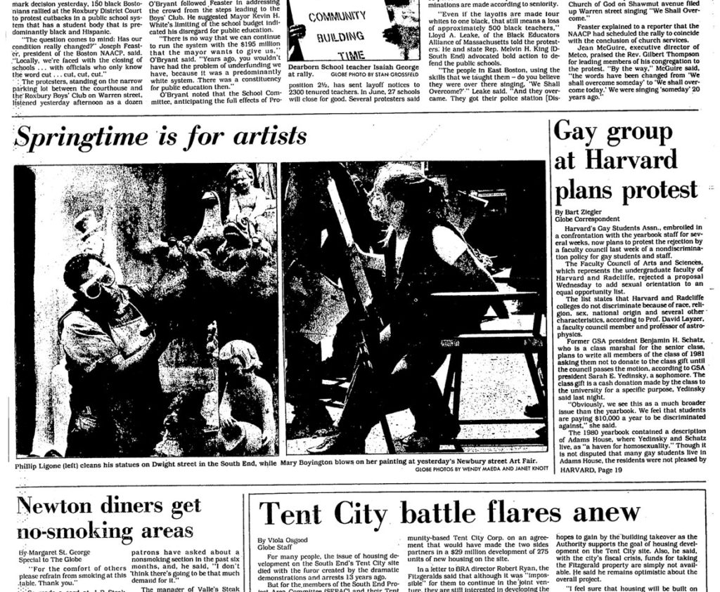 """Phillip Ligone ... cleans his statues on Dwight street in the South End"" in this photo in the May 18, 1981, edition of The Boston Globe."