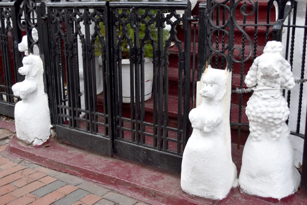 Poodle sculptures decorate front of 9 Dwight St., Boston, Jan. 4, 2019. (Greg Cook photo)