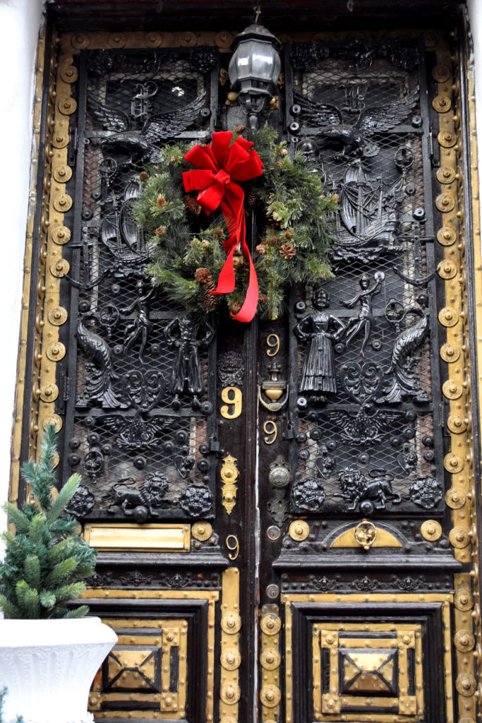 The front doors of 9 Dwight St., Boston, Jan. 4, 2019. (Greg Cook photo)