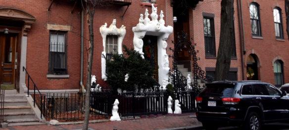 Sculptures decorate 9 Dwight St., Boston, Jan. 4, 2019. (Greg Cook photo)