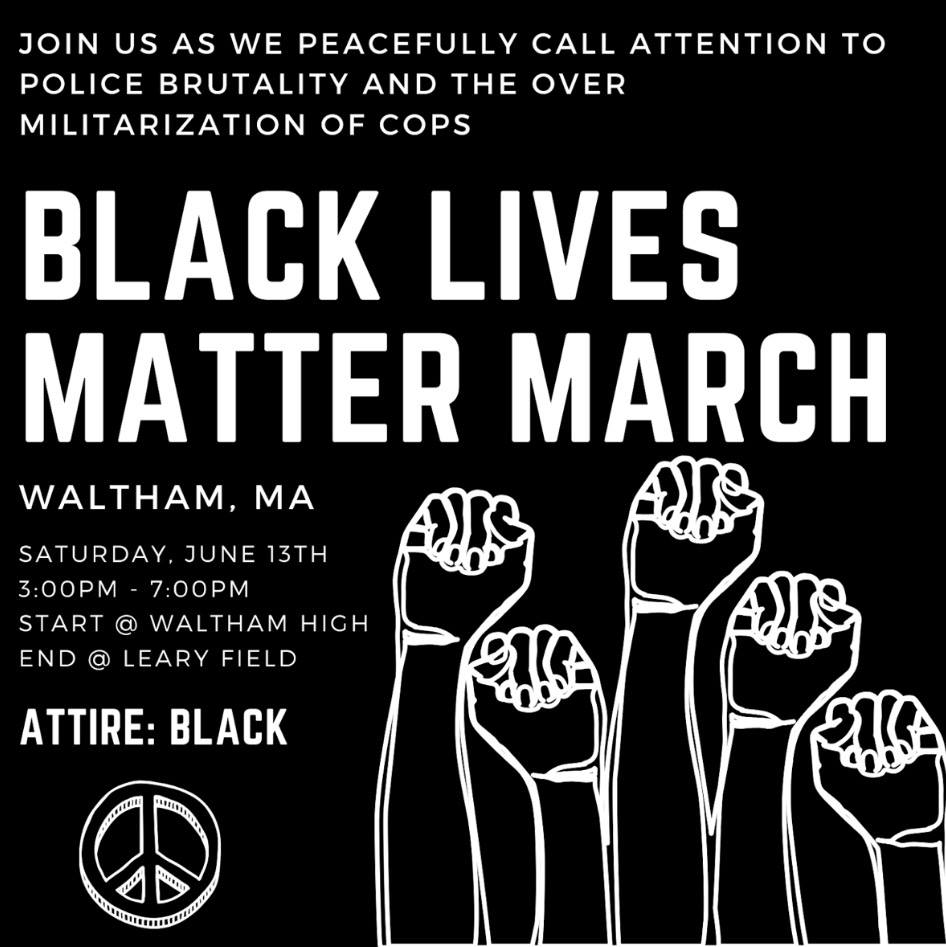 Black Lives Matter March in Waltham, Massachusetts, June 13, 2020.