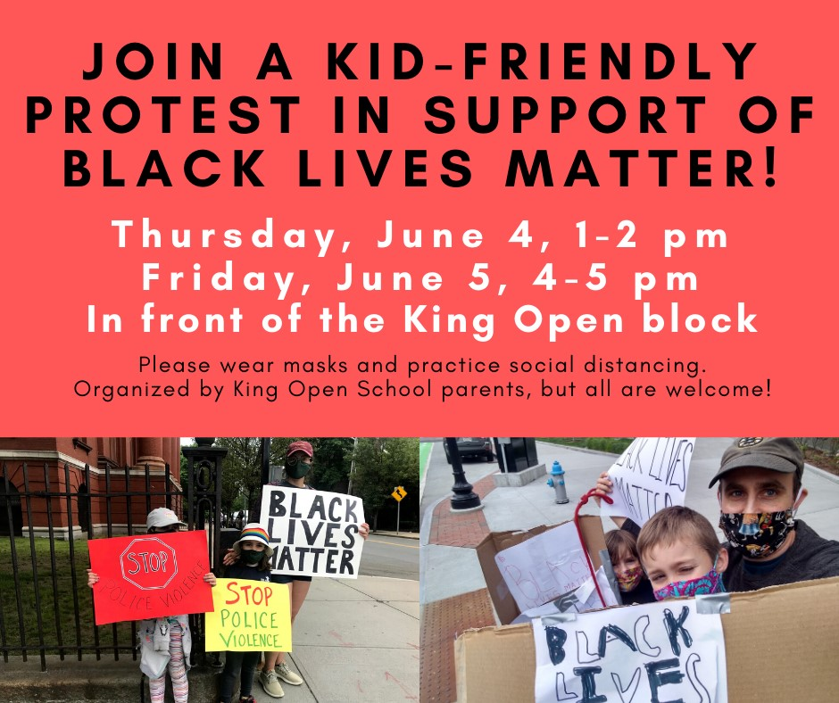 Kid-Friendly Protest in Support of Black Lives Matter at King Open School, Cambridge, June 5, 2020.