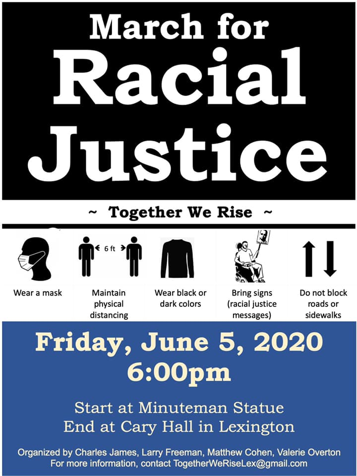 March for Racial Justice in Lexington, Massachusetts, June 5, 2020.