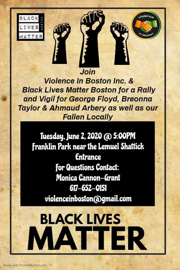 Not One More! Rally and Vigil for George Floyd, Breonna Taylor & Ahmaud Artery as well as our Fallen Locally at Franklin Park, Boston, June 2, 2020.