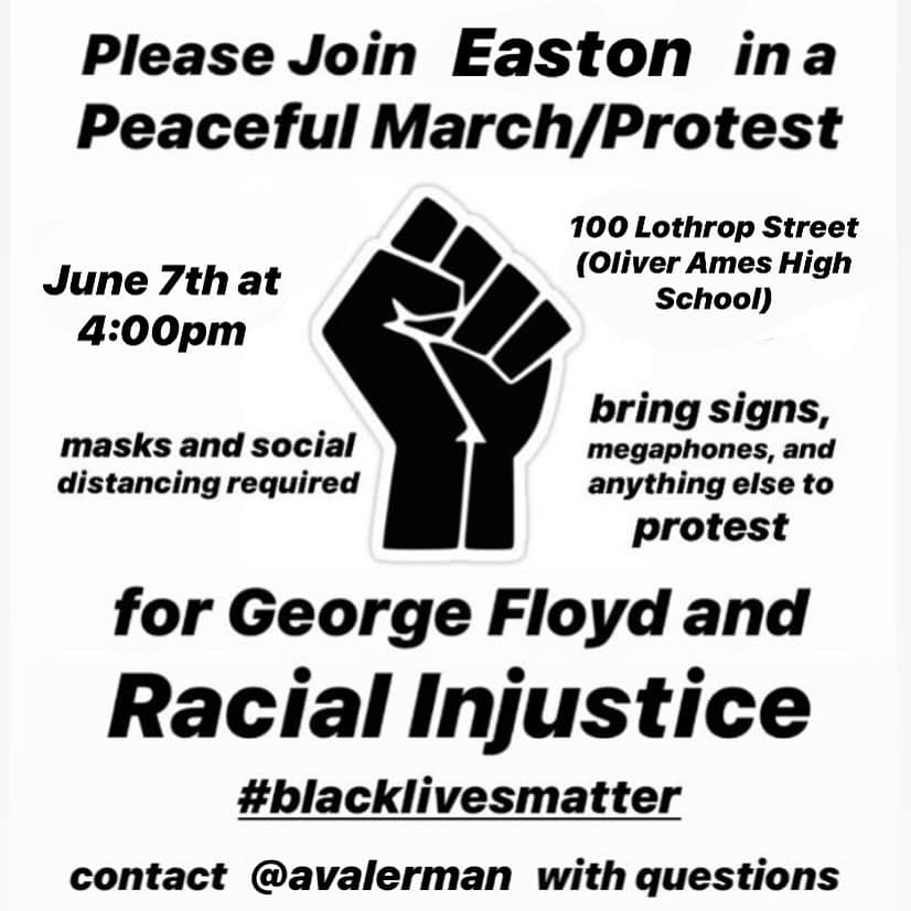 Peaceful Protest at Olivers Ames High School, Easton, Massachusetts, June 7, 2020.