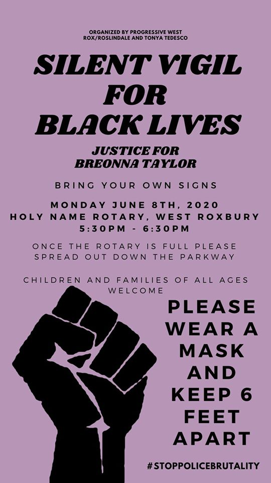 Silent Vigil for Black Lives at Holy Name Rotary, West Roxbury, Massachusetts, June 8, 2020.