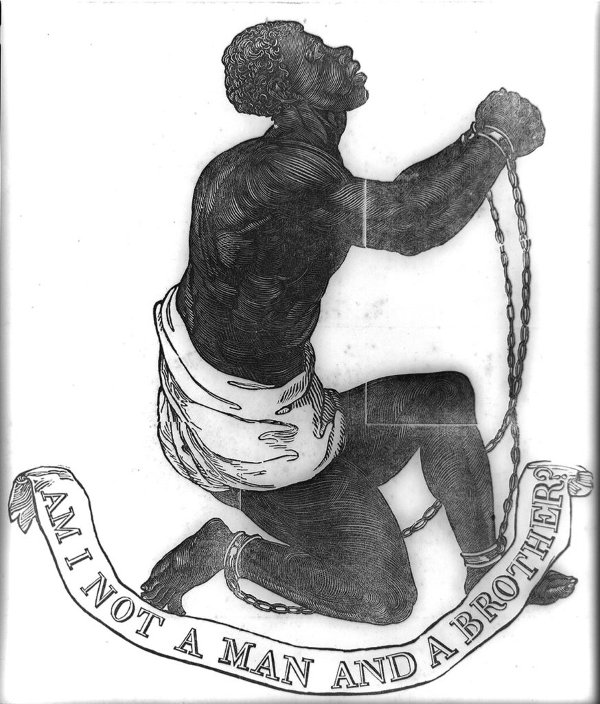 """Am I not a man and a brother?"" abolitionist graphic as it appeared atop an 1837 broadside publication of John Greenleaf Whittier's antislavery poem, ""Our Countrymen in Chains."" (Collection of the Library of Congress)"