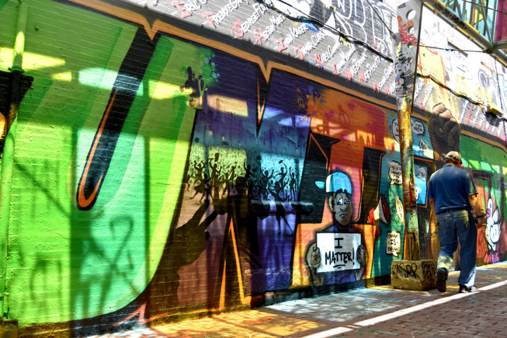 """""""Unified"""" mural at Graffiti Alley, Central Square, Cambridge, June 18, 2020. (© Greg Cook photo)"""