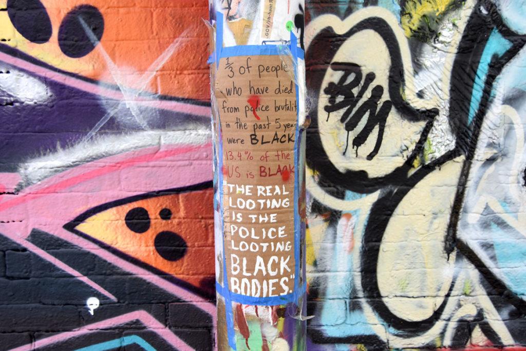 Graffiti Alley, Central Square, Cambridge, June 18, 2020. (© Greg Cook photo)