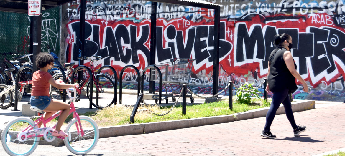 """Black Lives Matter"" mural at Graffiti Alley, Central Square, Cambridge, June 18, 2020. (© Greg Cook photo)"