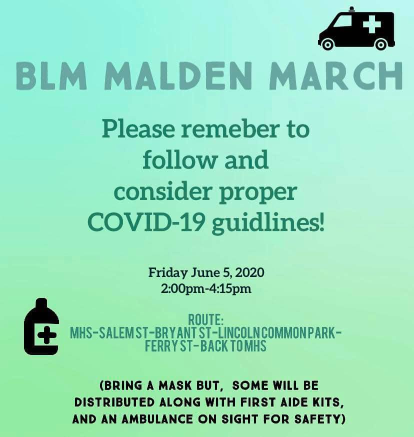 "Poster for ""BLM Malden March,"" June 5, 2020."
